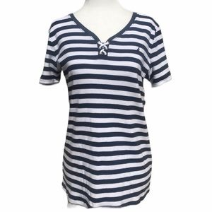 Náutica blue and white stripped short slee…